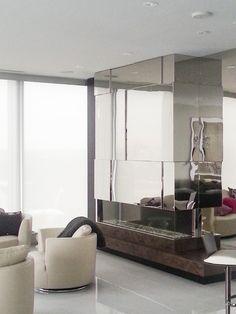 Mirrored storage and fireplace - Broken Down Designs, Toronto Oversized Mirror, Toronto, Storage, House Styles, Furniture, Design, Home Decor, Purse Storage, Homemade Home Decor