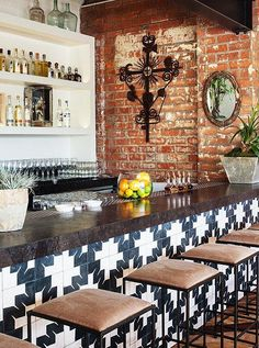 "Idea #3: Try Of-the-Moment Tile -- Tile is having a moment… in part because of places like Gracias Madre. ""I love that tile! We found it in Mexico City,"" says Haworth. ""It's designed by graphic artists in Oaxaca and really drove the rest of the design."" We love it on the bar, or in smaller spaces like a bathroom floor. Get more California cool, Mexican-inspired interior design ideas in ""7 Genius Design Ideas to Steal from Los Angeles Hot Spot Gracias Madre"" on the One Kings Lane Style Guide!"