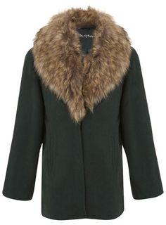 Detachable Faux Fur Trim Coat