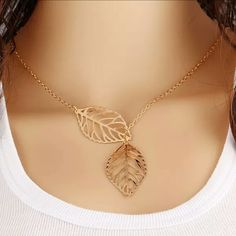 Gold Double Leaf Necklace Gold Double Leaf Necklace Jewelry Necklaces