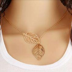Gold Double Leaf Necklace Gold Double Leaf Necklace Jewelry Necklaces