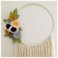 FELT FLOWER WREATH // Gold Wreath // Modern // Wall by HoneyCrown