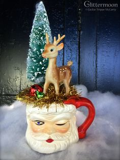 Santa's mug full of vintage goodness ©Glittermoon Vintage Christmas 2014