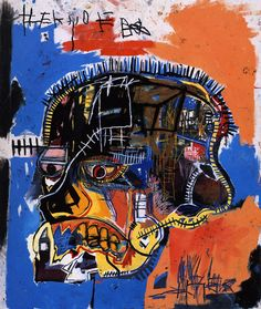 """Untitled (Skull)""  by Jean-Michel Basquiat (1981) Acrylic and Mixed Media on Canvas. Broad Collection, Los Angeles. 207 x 175.9 cm. I like this piece because upon closer inspection, the mixed media is realized and the use of minimal, bold colors contrasts well."