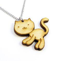 SAMPLE SALE Playful Kitten Wood Charm Necklace on Etsy, $14.00