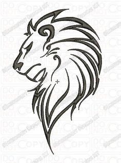 Lion Outline Tribal Embroidery Design in 3x3 4x4 and 5x7 Sizes: