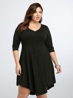 Plus Size V-Hem Knit Shirt Dress, BLACK