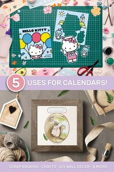 Read our blog post about how to create some fun crafts and great DIY ideas with any calendar! Diy Wall Art, Diy Wall Decor, Recycling Bins, Upcycled Crafts, Scrapbook Supplies, Some Fun, Fun Crafts, Hello Kitty, Diy Ideas