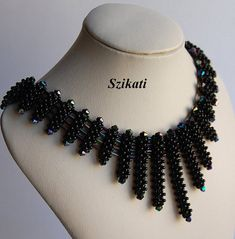 Black Seed Bead Bib Necklace Statement Beadwork by Szikati on Etsy