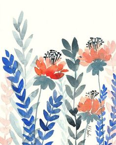 Coral Watercolor Flowers navy and coral watercolor floral
