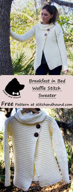 Waffle stitch sweater crochet pattern. Light sweater for spring made using Lion Brand Bundle of Love yarn #freecrochetpatterns #crochetsweater #wafflestitch #crochetstyle #stitchandhoundcrochetpattern