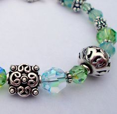 Intricate Bali Silver Beads and Swarovski Crystal Bracelet- Quality, Rich Jewelry only by Bellissima Jewelers