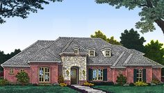 European Facade - 48349FM | 1st Floor Master Suite, Bonus Room, Butler Walk-in Pantry, CAD Available, Corner Lot, Den-Office-Library-Study, European, French Country, PDF, Split Bedrooms | Architectural Designs