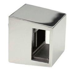 Support de lisse rectangulaire 20x10mm en inox 316l, finition poli miroir ou brossé.