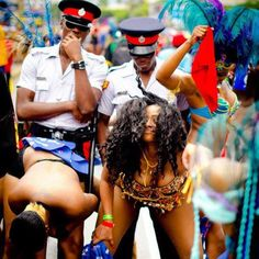 Nothing like Jamaican Police Officers!!  Enjoy yourselves  yah Officers it's Carnival time!!!
