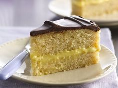 Enjoy this rich pie made with layers of cake and custard – a perfect dessert treat with chocolate glaze.