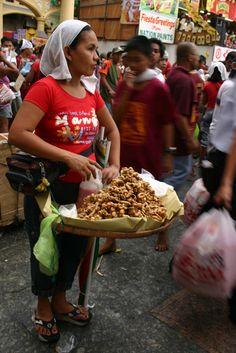 tsitsaron (chicharon) - seasoned deep fried chicken or pork skin - Quiapo, Manila, Philippines