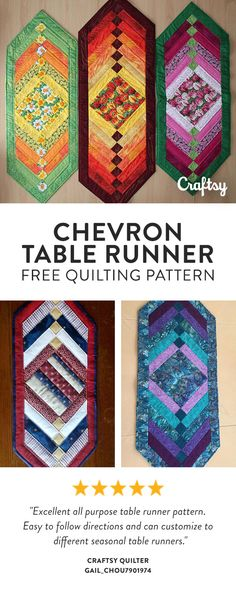 Chevron is such a lovely quilting design, easy to make and very effective, It's perfect for showing off nice large patterned fabric in the center and looks great shading the fabrics from light middle strips to darker outer strips and border. Free Beginner Quilt Pattern.