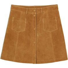Monki Rudy suede skirt ($76) ❤ liked on Polyvore featuring skirts, bottoms, clothes - skirts, bittersweet mustard seed, a-line skirt, knee length a line skirt, brown suede skirt, suede leather skirt and monki