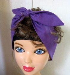 Bandana Headband, Purple Hair Bandana, Hair Band, Boho, Boho Hair Band, Hippie, Bohemian Bandana, RockaBilly HairBand Teens Women by CrochetnMoreByAlida on Etsy