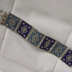 miyuki blue bracelet by gunselstyle on Etsy Bead Loom Bracelets, Beaded Bracelet Patterns, Bead Loom Patterns, Beading Patterns, Embroidery Bracelets, Beading Ideas, Seed Bead Jewelry, Bead Jewellery, Jewelry Crafts