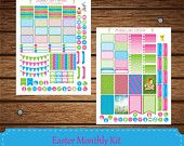 12% SALE Easter March Stickers, Monthly Kit Stickers, Printable Planner Stickers, Erin Condren stickers , Happy Planner Stickers, INSTANT DO