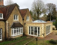 Timber Orangery with timber French doors, timber windows and a timber Roof Lantern manufactured by Medina Joinery Timber Roof, Timber Windows, Wooden Windows, Casement Windows, Windows And Doors, Garden Room Extensions, Roof Lantern, Through The Roof, Cottage Style