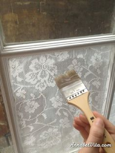 Use cornstarch and water to apply cloth lace to windows privacy, but lots of light! Great for renters, because it comes right off with warm water!