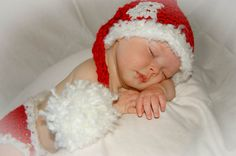 Baby girl crochet santa hat with snowflke elf hat by mmhandmades. Sooooo cute!