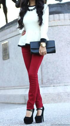 Peplum top with bright skinnies