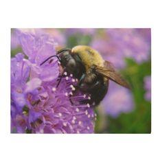 #wood - #Bumble Bee on Flower Wood Print - Custom Sizes