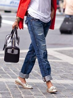 cuffed jeans, loafers, bright jacket - Refined Style