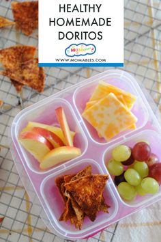 These Easy Homemade Dorito chips are made with clean ingredients and have cheesy and crunchy you love! These are great to pack inside a lunch, snack box, or enjoy as an easy party snack! Homemade Doritos Recipe, Doritos Recipes, Velveeta Recipes, Healthy School Lunches, Healthy Snacks, School Snacks, Healthy Kids, Healthy Eating, Lunch Snacks