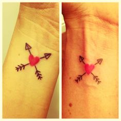 Matching best friend tattoos.  Arrows crossing means friendship in Native American heritage. Kind of love this a lot.