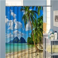 Coconut Tree and Beach Scenery Printed Polyester Shower Curtain Cool Shower Curtains, Custom Shower Curtains, Coastal Colors, Coastal Style, Coastal Inspired Showers, Image 3d, View Image, Beach Scenery, Beach Bathrooms