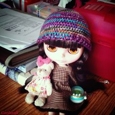 Carleesi - colorful crocheted hat for Blythe doll