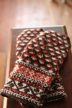 Three Latvian braids adorn these mittens. Crochet Mittens, Knitted Gloves, Crochet Yarn, Knitting Books, Hand Knitting, Knitting Patterns, Wrist Warmers, Hand Warmers, How To Purl Knit