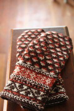 Three Latvian braids adorn these mittens. Crochet Mittens, Mittens Pattern, Knitted Gloves, Crochet Yarn, Knitting Books, Knitting Projects, Hand Knitting, Knitting Patterns, Wrist Warmers