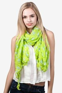 Lime Green Polyester Starfish Scarf