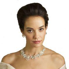 Collier et boucles d'oreilles en parure mariage cérémonie cocktail perles et diamante ROSAE