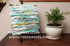 $100.00 Small Acrylic Teal Abstract Painting. Original Piece by Weronika Zubek from TwoEasels