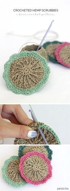 Crochet hemp scrubbies - free pattern. Hemp is naturally antibacterial, which makes these little scrubby pads perfect for cleaning!