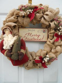 Country Christmas Burlap Wreath with by ChloesCraftCloset on Etsy, $46.00