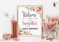 Boho BABY SHOWER Welcome Sign. Personalized Shabby Chic Baby Shower PRINTABLE. Floral Shower. Bohemian Watercolor Flowers.