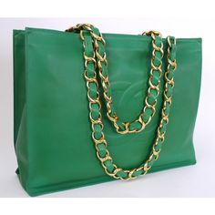 Authentic Chanel Green Lamb Skin Jumbo Shopping Tote Bag Rare ❤ liked on Polyvore