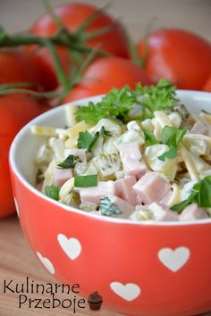 Sałatka szwajcarska European Cuisine, Polish Recipes, Avocado Salad, Salad Recipes, Potato Salad, Food To Make, Side Dishes, Food And Drink, Cooking Recipes