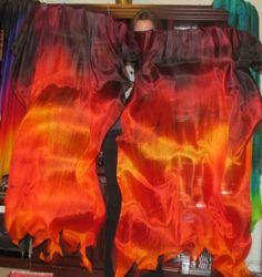 Sahariah's Silk Belly Dance  original FANtasy Veils Oriental Fusion Fan Veils Set One Set of 2 Fan Veils ACRYLIC Staves