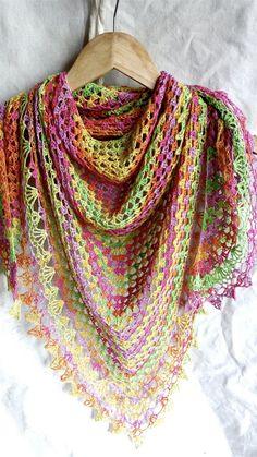 Crochet shawl lace shawl wrap shawl rainbow by  poppyblue.tictail.com -£33.50 #crochet #laceshawl #shawl #crochetshawl #rainbow #scarf