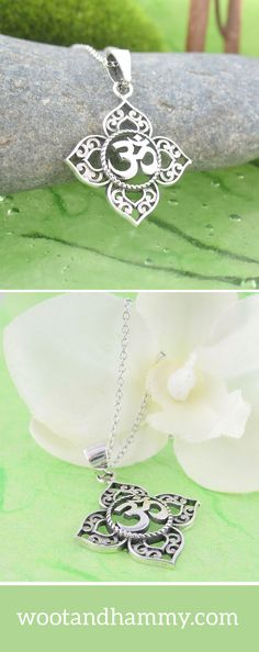 Four lotus leaves point in four directions, creating perfect symmetry and balance, while an inset filigree design creates an elegant finish in this lovely sterling silver om necklace.