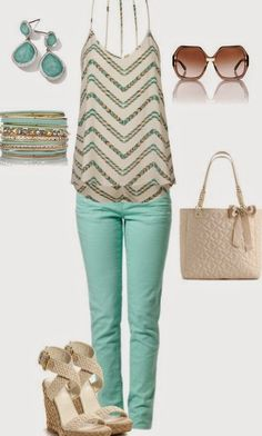 This is so great for spring! I love the bright colored pants! The top is amazing! The accessories are great!!